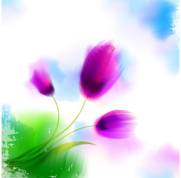 Blurs flower illustration vector 01