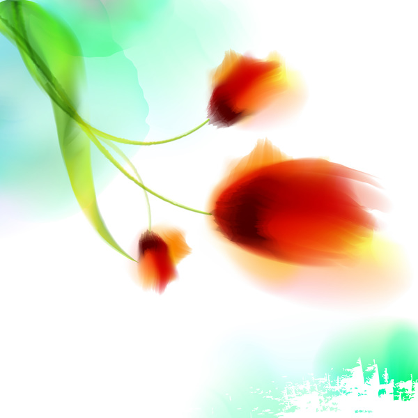 Blurs flower illustration vector 03