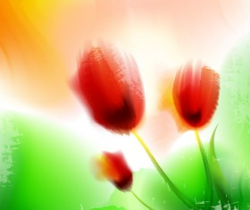 Blurs flower illustration vector 04