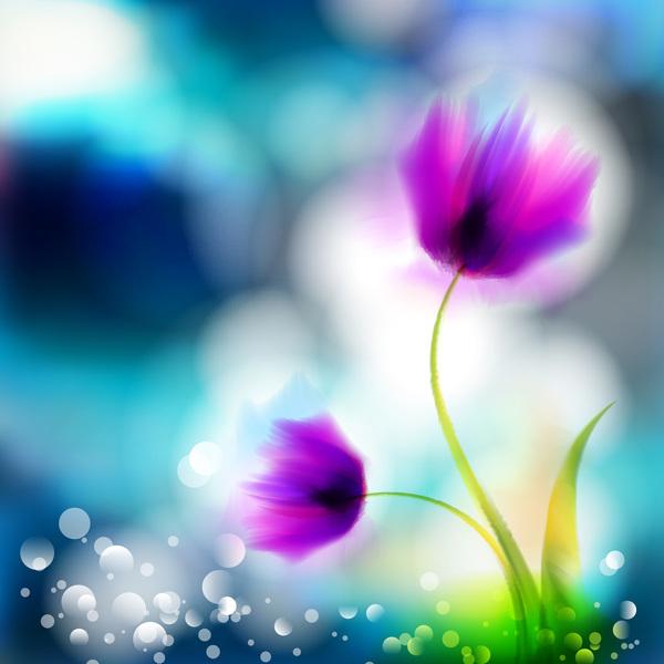 Blurs flower illustration vector 05