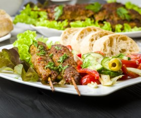 Bread skewers and salads Stock Photo