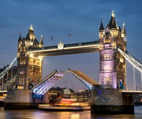 Brightly lit London Tower Bridge Stock Photo