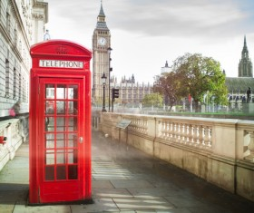 British public telephone booth with Big Ben Stock Photo