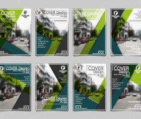 Brochure cover green template vector set