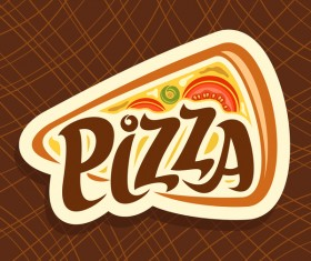 Brown background with pizza vector illustration