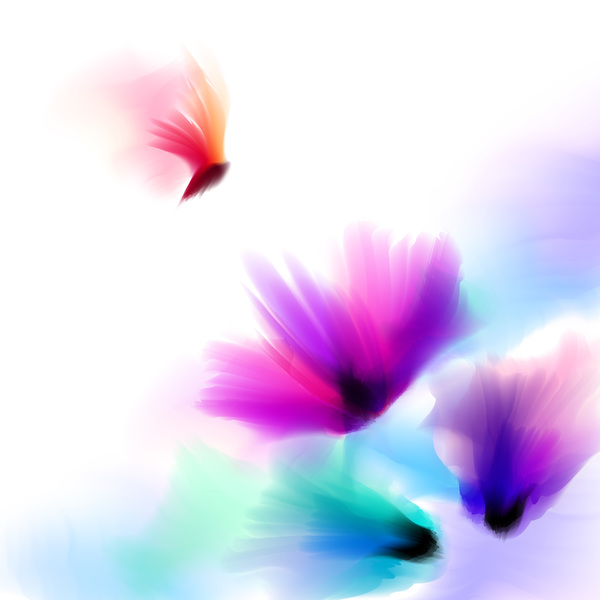 Butterfly with flower blrus vector 02