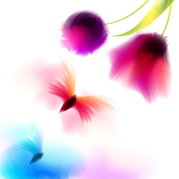 Butterfly with flower blrus vector 03