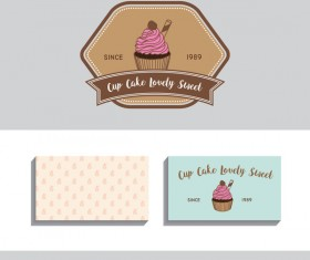 Cake labels with business card vector 01