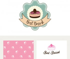 Cake labels with business card vector 03