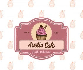 Cake shop labels with background vector 02