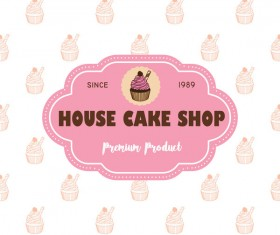 Cake shop labels with background vector 03