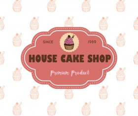 Cake shop labels with background vector 04