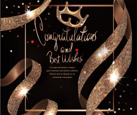 Card with congratulations and beautiful ribbons vector