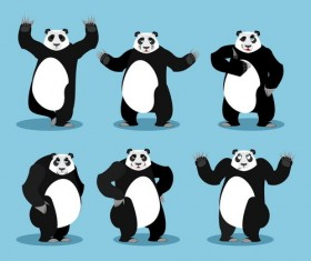 Cartoon funny panda vector set