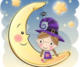 Cartoon halloween moon with cute girl vector