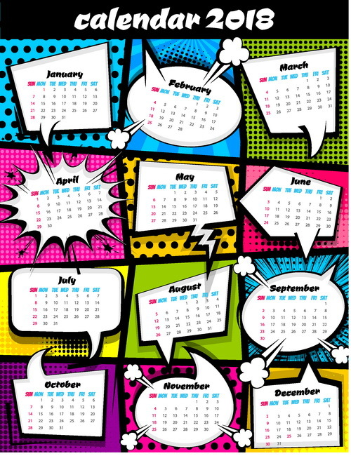 Cartoon styles 2018 calendar vector