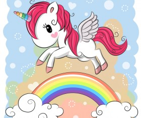 Cartoon unicorns cute vectors 03