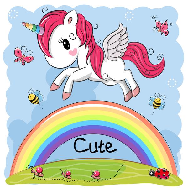 Cartoon unicorns cute vectors 04