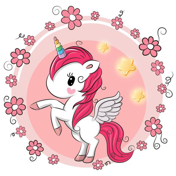 Cartoon unicorns cute vectors 05