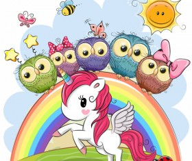 Cartoon unicorns cute vectors 06