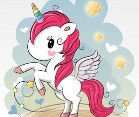 Cartoon unicorns cute vectors 07