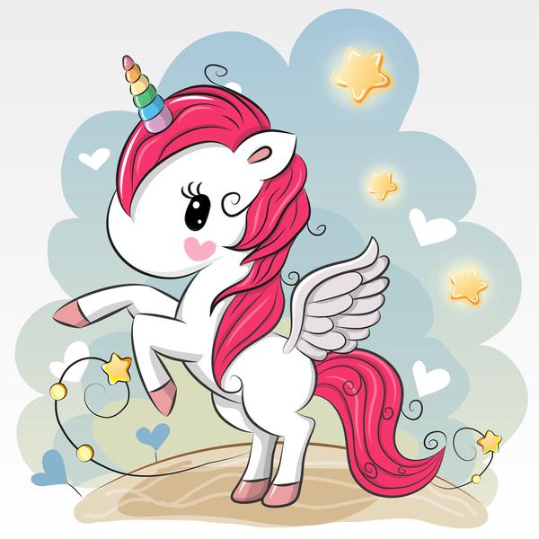 Cartoon unicorns cute vectors 07