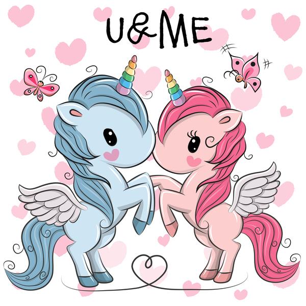 Cartoon unicorns cute vectors 08