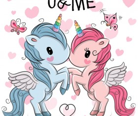 Cartoon unicorns cute vectors 09