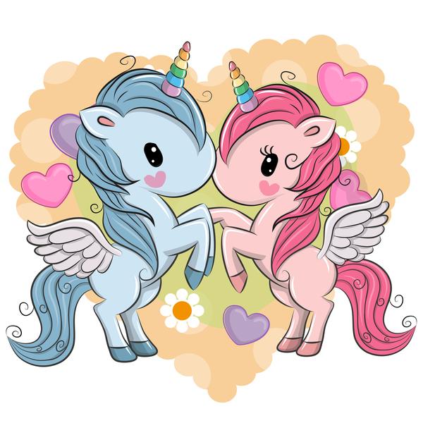Cartoon unicorns cute vectors 10
