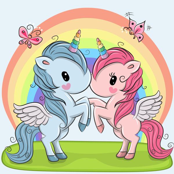 Cartoon unicorns cute vectors 12
