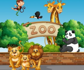 Cartoon zoo illustration vector 01