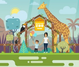Cartoon zoo illustration vector 02