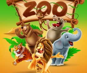 Cartoon zoo illustration vector 04