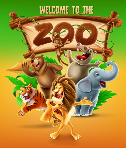 cartoon zoo illustration vector 04 free download