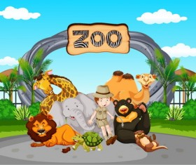 Cartoon zoo illustration vector 05