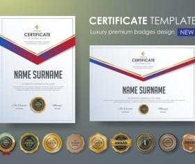 Certificate template with luxury premium badges design vector 03