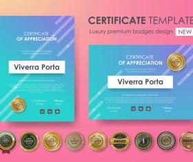 Certificate template with luxury premium badges design vector 05