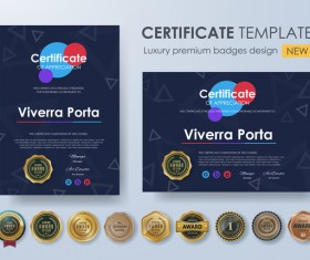 Certificate template with luxury premium badges design vector 07