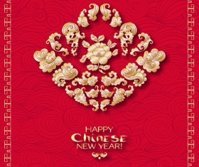 Chinese 2018 new year backgrounds vector material 04