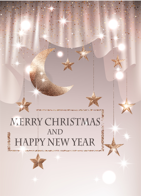 Christmas background with textured gold sparkling stars and moon vector
