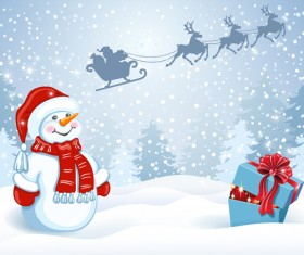 Christmas gift box with cute snowman vector