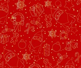 Christmas line baubles seamless pattern vector 03
