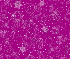 Christmas line baubles seamless pattern vector 04