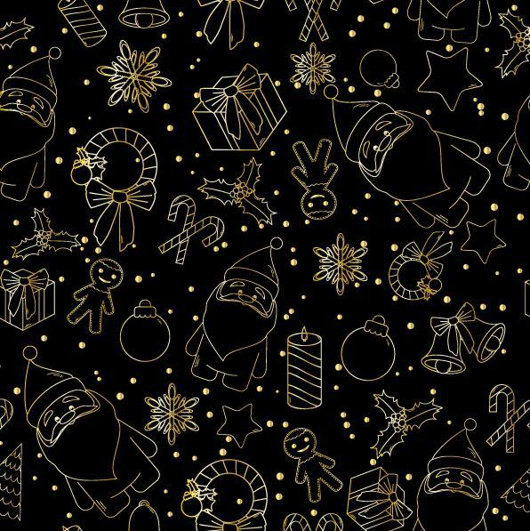 Christmas line baubles seamless pattern vector 05