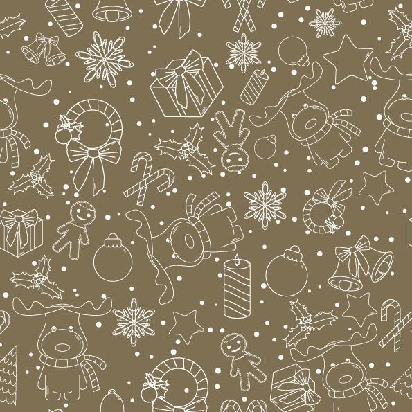 Christmas line baubles seamless pattern vector 06