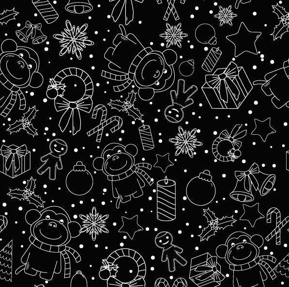Christmas line baubles seamless pattern vector 08
