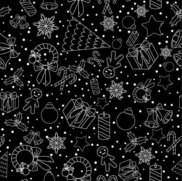 Christmas line baubles seamless pattern vector 09