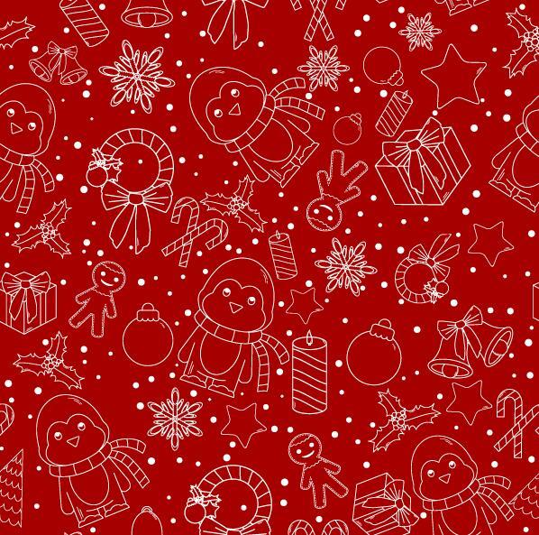 Christmas line baubles seamless pattern vector 10