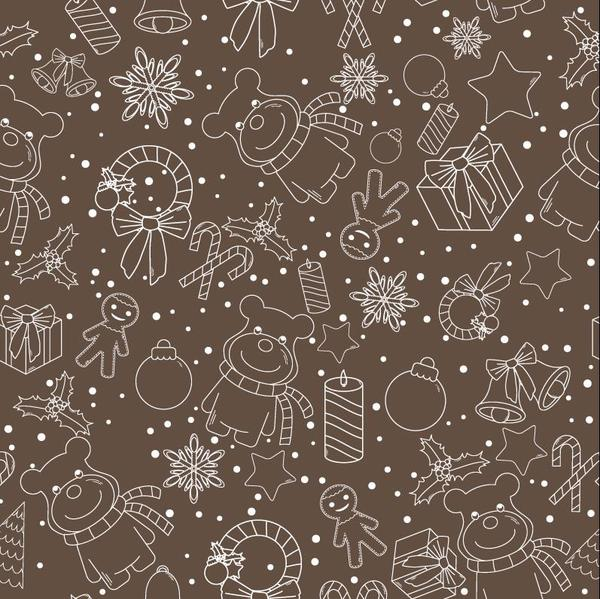 Christmas line baubles seamless pattern vector 11