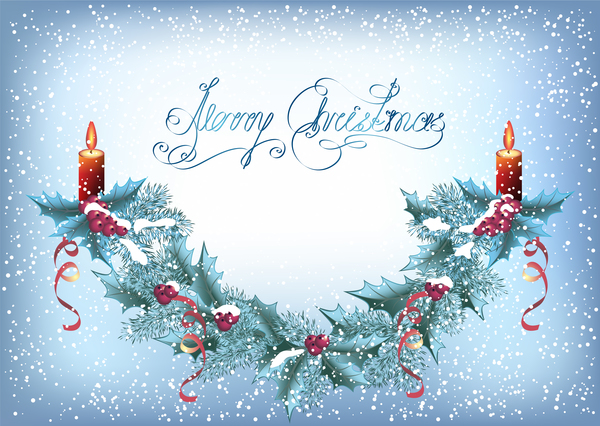 Christmas snow background with candle vector